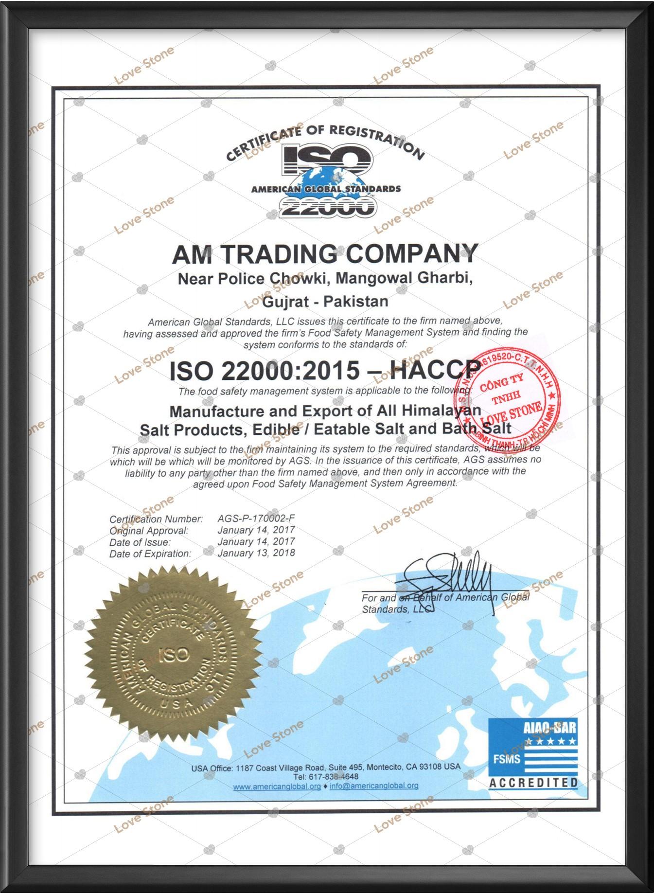 Giấy chứng nhận nhà máy đạt chuẩn ISO của AM TRADING