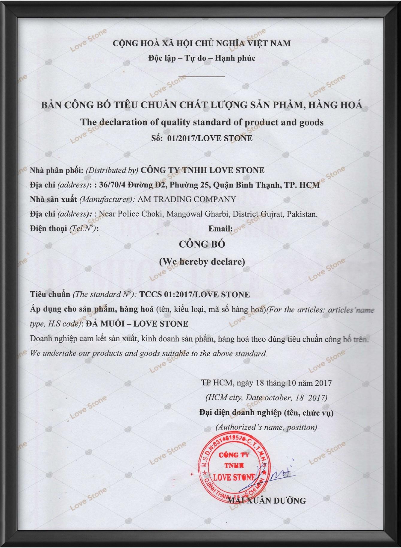 Đơn vị đầu tiên và duy nhất tại Việt Nam được cấp giấy công bố chất lượng sản phẩm hộp đá muối.