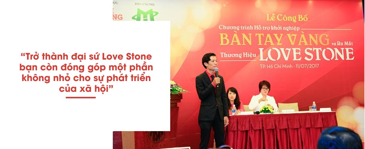 Một phần lợi nhuận của Love Stone được đóng cho chương trình khởi nghiệp Bàn Tay Vàng