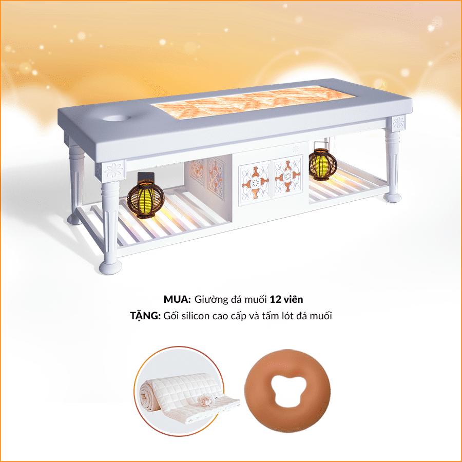 MUA giường đá muối 12 viên TẶNG NGAY gối silicon cao cấp và tấm lót đá muối